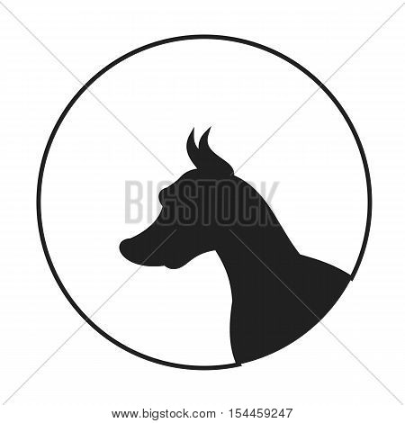 Silhouette of a dog head doberman pinscher. Portrait pedigree doggy, vector illustration