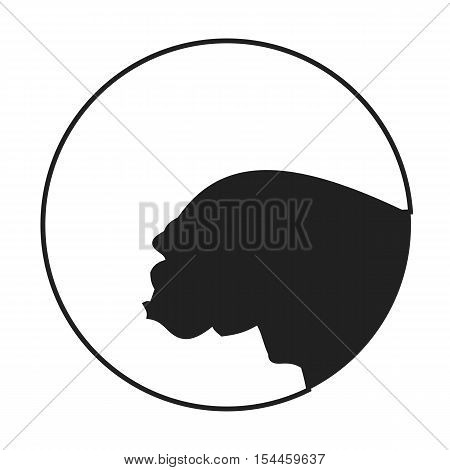 Silhouette of a dog head bulldog. Companion in monochrome style. Vector illustration