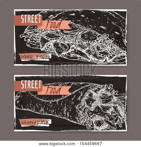 Set of two landscape banners with doner kebab and shawarma on grunge black background. Turkish and Arabic cuisine. Street food series. Great for market, restaurant, cafe, food label design.