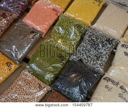 Dried Foods For Sale At Local Market In Delhi, India