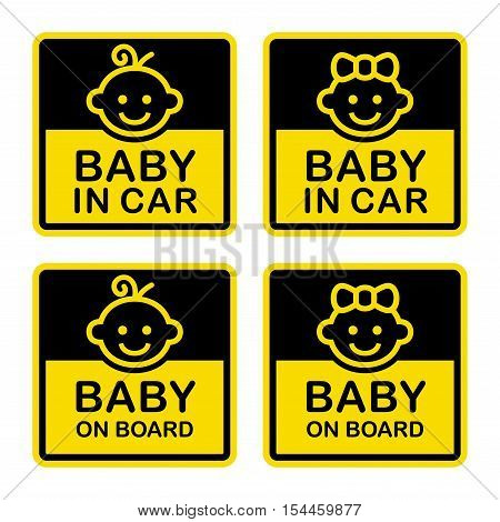 Baby on Board Sign Set. White Background. Vector Illustration.