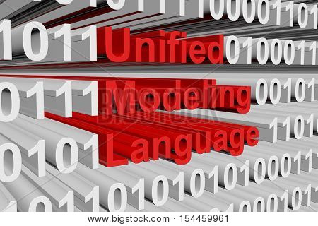 Unified Modeling Language in the form of binary code, 3D illustration