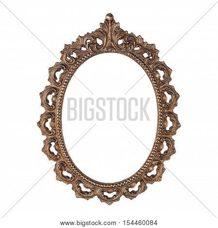 Antique carved oval metal frame isolated on white