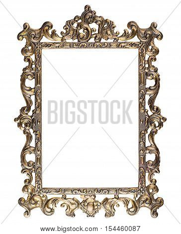 Antique carved rectangular metal frame isolated on white