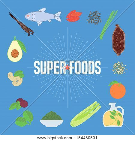 Set of superfoods products, berries, fruits, vegetables in vector. Icons, circle design elements, banner, poster with goji berry, acai seeds, quinoa, celery for super food wellness