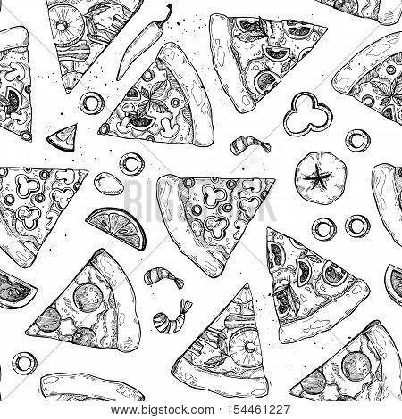 Hand Drawn Vector Illustration - Pizza. Types Of Pizza: Pepperoni, Margherita, Hawaiian, Mushroom. S