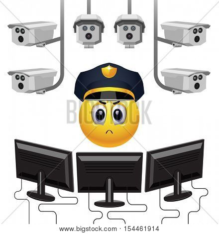 Smiley ball as security. Strict smiley police officer on duty. Vector illustration.