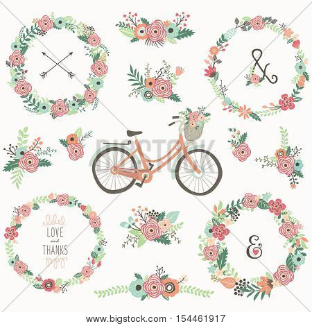 Retro Flower Wreath Bicycles