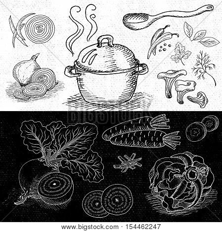 Set of chalk hand drawn, in sketch style, food and spices, black and white chalkboard background. Hot soup in a pot. Wooden spoon, mushrooms, beet, pepper, cabbage, onion, carrot. Hand drawn vector illustration.