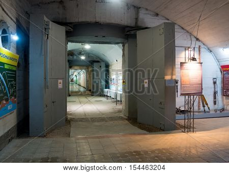 Balaklava, Russia - November 14, 2015: Protective gates be closed entrance to a tunnel an underground museum complex Balaklava Crimea
