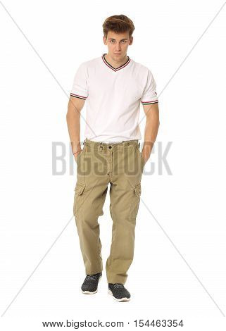 Handsome Man In White Shirt And Khaki Pants Isolated
