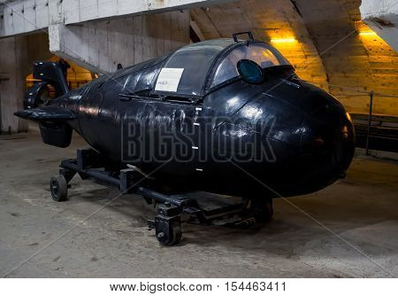 Balaklava, Russia - November 14, 2015: Super small submarine
