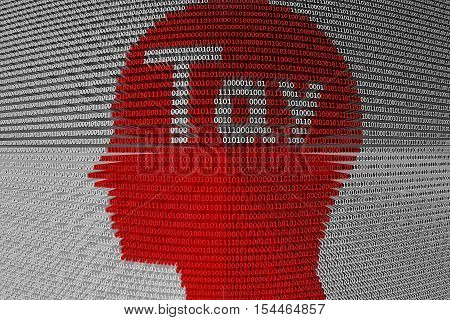 chat bot Tay in the form of binary code, 3D illustration