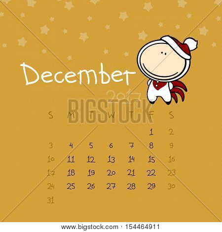 Calendar for the year 2017 - December (raster version)
