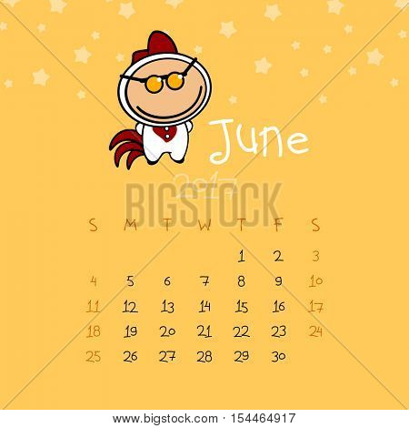 Calendar for the year 2017 - June (raster version)
