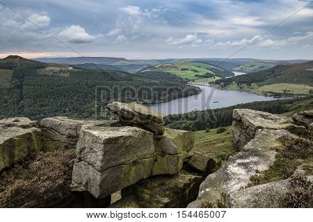 Landscape View From Bamford Edge In Peak District Towards Ladybower Reservoir And Win Hill.
