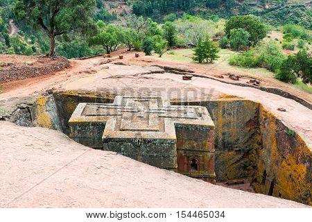 Ethiopia Lalibela the monolithic underground Saint George Orthodox church