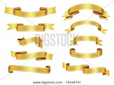 vector set of golden ribbons