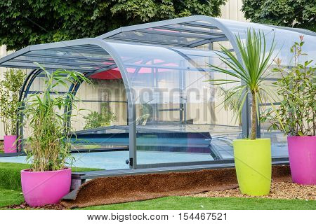La rochelle France - Aug 30 2016: automatic retractable pool enclosure system to protect pool