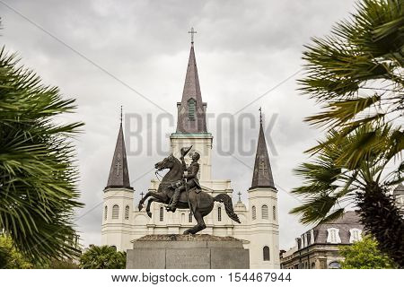 Saint Louis Cathedral in the French Quarter in New Orleans, Louisiana.