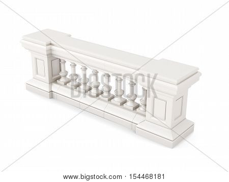 Marble balustrade isolated on white. 3d rendering.