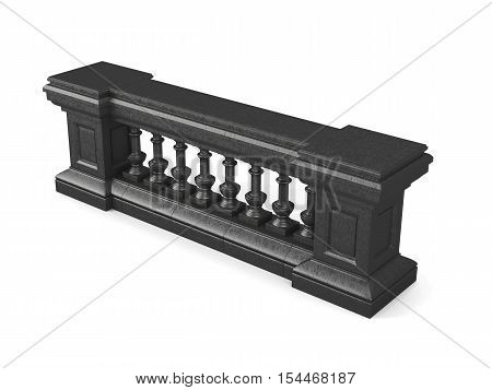 Black Stone Balustrade Isolated On White Background. 3D Rendering