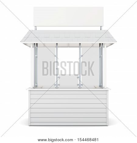 Kiosk Isolated On A White Background. 3D Rendering