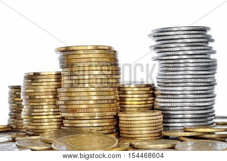 Many coin bank of yellow and white metal. Cash closeup. poster