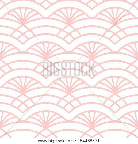 Trellis seamless pattern. Oriental colorful print in white and pink. Great for cover design fabric print wallpaper wrapping paper web page. Seamless art deco background.. Vector illustration.