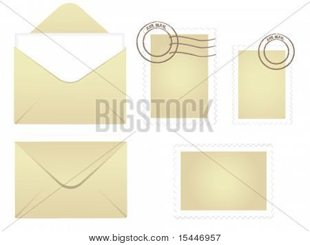 postcard and stamps vector