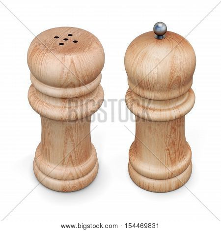 Wooden Pepper Mill And Salt Shaker Isolated. 3D Rendering