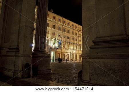 Rome. Chigi palace by night. It is the government's building