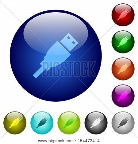USB plug icons on round color glass buttons