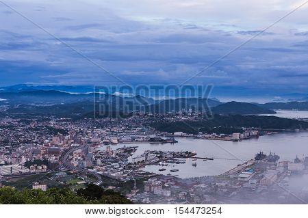 Sasebo City Skyline At Night From Mount Yumihari Overlook Nagasaki, Japan.