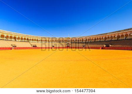Seville, Spain - October 3, 2016:Plaza de Toros de la Maestranza (Bullring)
