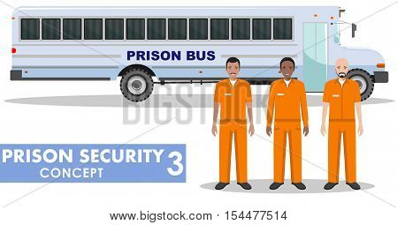 Detailed illustration of prison bus and prisoners on white background in flat style.