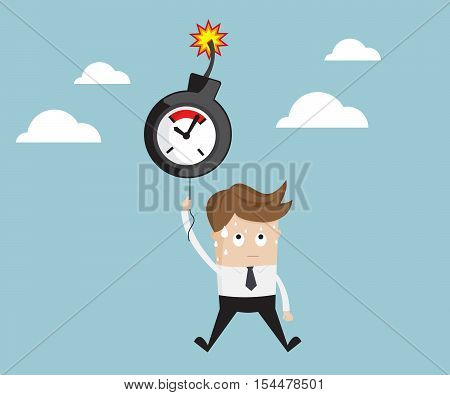 businessman flying with timebomb balloon time management concept cartoon vector illustration