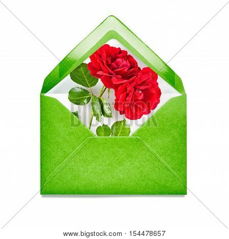 Green envelope with rose flowers. Single object isolated on white background clipping path included. Floral design elements