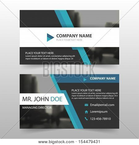 Blue black corporate business card name card template horizontal simple clean layout design template Business banner card for website