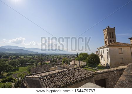 Landscape of the Umbrian valley view from Spello