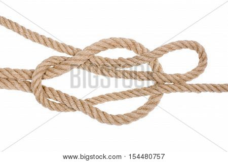 Reef knot isolated on white background. Nautical rope knot.