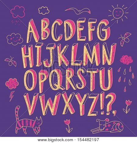 Hand drawn decorative sketchy vector ABC letters and doodle drawings. Felt-tip style. Nice childish font for your design.