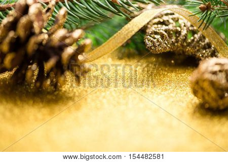 Christmas background. New year. 2017. tree, gold, cones, ornaments