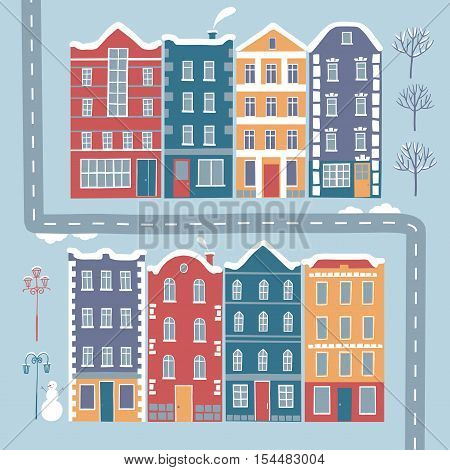 Set of European style colorful cartoon buildings in winter. Including trees lamppost road snowman. Isolated objects for your design.