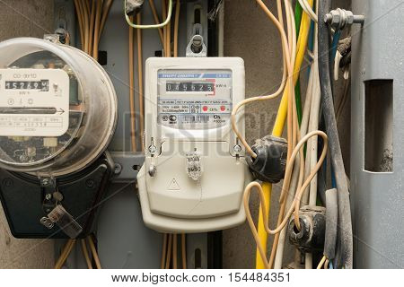 Volgograd, Russia - October 10, 2016: Electronic Electric Meter Electricity Company