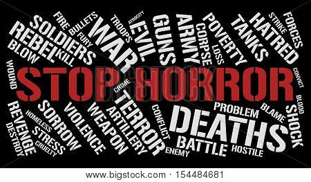 Stop horror word cloud concept. Black background.