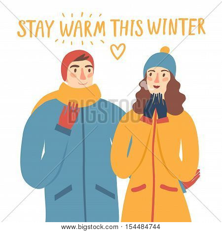Cartoon pair in winter clothes hugging each other.Including stay warm this winter title. Seasonal illustration for your design.