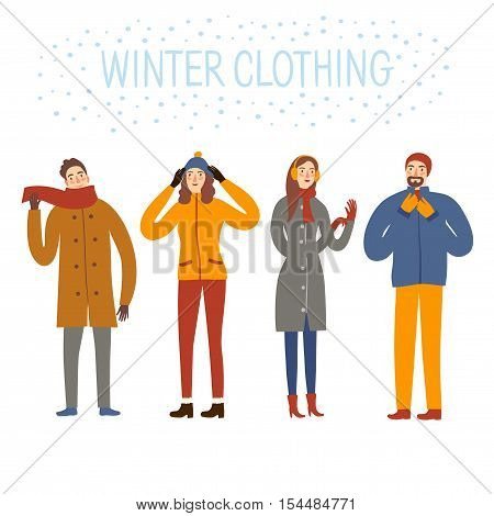 Cartoon people wearing winter clothes. Seasonal illustration for your design.