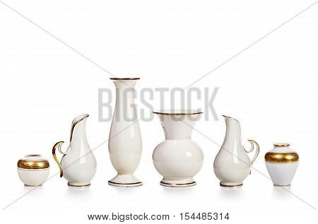 Antique white porcelain vases collection isolated on white background