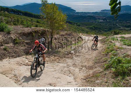 Elba Island, Mount Perone Pedaling On A Mountain Bike